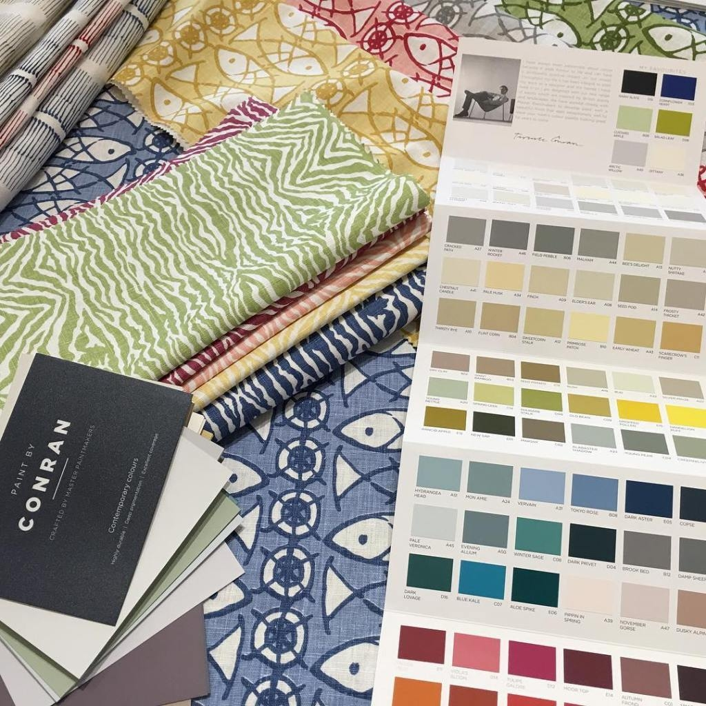 Received our care package full of paint charts from @paintbyconran The colours you will agree are truly 🎨 Look how well they work with all our new fabrics...Thank you we will put the charts to good use
