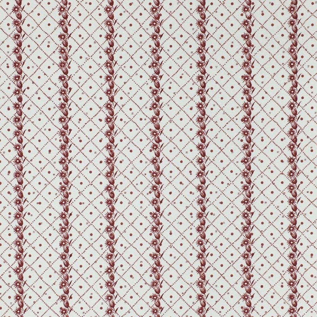 CORNFLOWER ON DOT TRELLIS STRATTON COTTON OYSTER - RED CORNFLOWER 199 DOT TRELLIS HALF 199