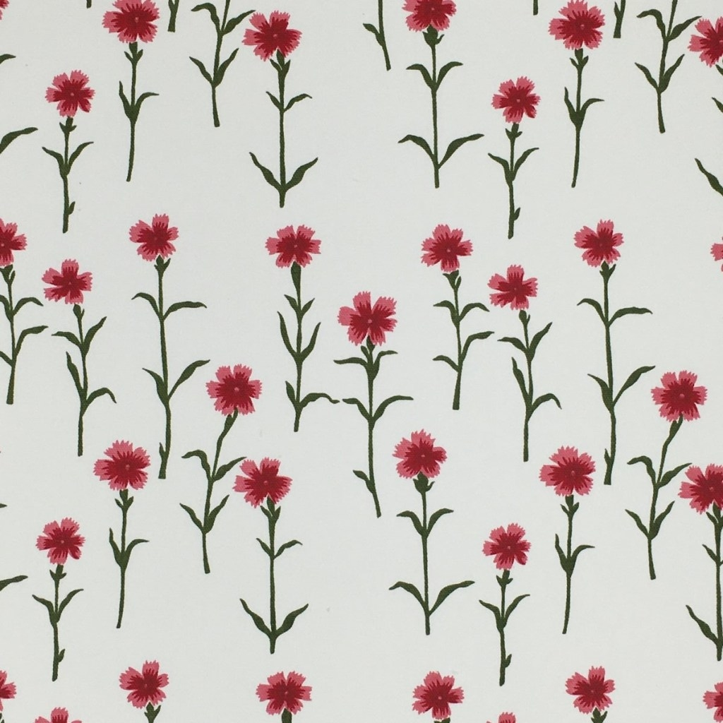 SPRAY FLOWERS STRATTON COTTON OYSTER - GREEN & PINK A105 B57 C207 D136